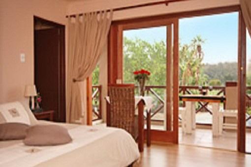Bright bedroom with balcony