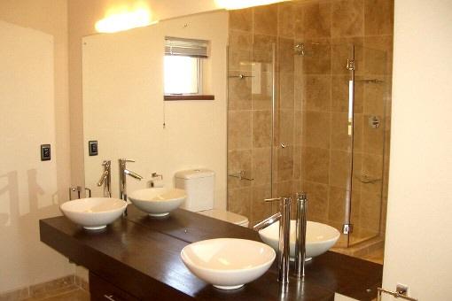 Modern bathroom with two basins